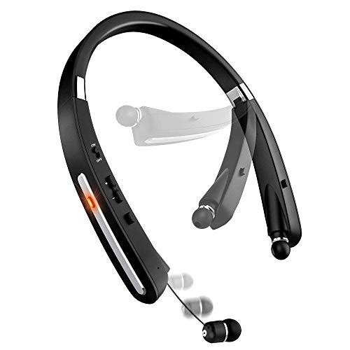 Bluetooth Headset, Bluetooth Headphones KKY-992X-LBell Wireless Neckband Design with Foldable Retractable Headset for X/ 8/7 Plus Samsung Galaxy (Jet ()