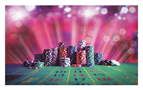 Lunarable Poker Tournament Doormat, Stack of Gambling Chips Success and Wealth of Winner with Lucky Betting, Decorative Polyester Floor Mat with Non-Skid Backing, 30 W X 18 L Inches, (Poker Lucky Charms)
