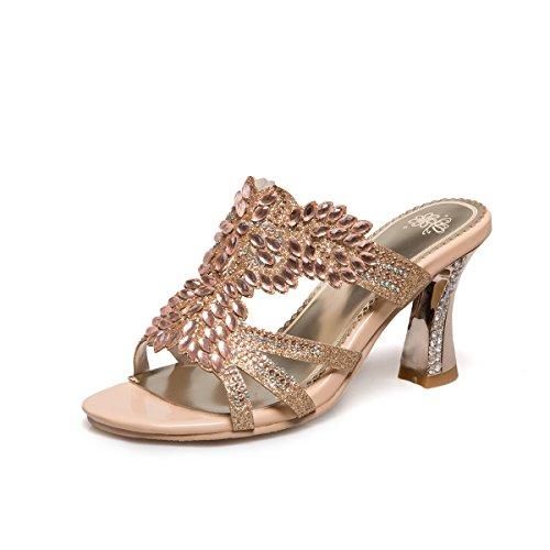 Golden Sandalias Peep Mujer Tacones De Qin Toe Bloque amp;x CZOWqU