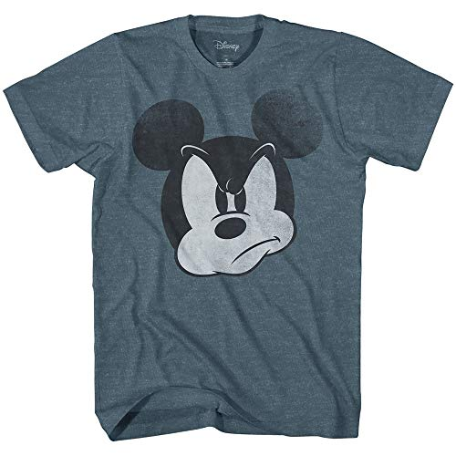 Mad Mickey Mouse Graphic Tee Classic Vintage Disneyland World Mens Adult T-Shirt Apparel (XX-Large, Indigo Heather)