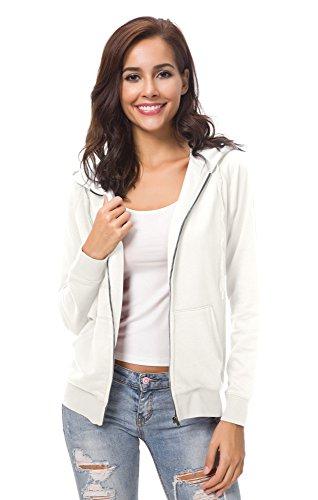 Urban CoCo Women's Full Zip-up Hooded Sweatshirt Long Sleeve Casual Hoodie Jacket (S, Ivory) (Hooded Long Sleeve Casual)