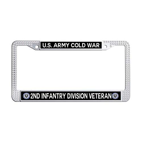 US Army Cold War 2nd Infantry Division Veteran License Plate Frame,White Rhinestones License Cover Holder]()