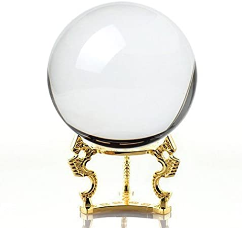 Including Golden Dragon Stand and Gift Package 4.2 inch Amlong Crystal Black Crystal Ball 110mm
