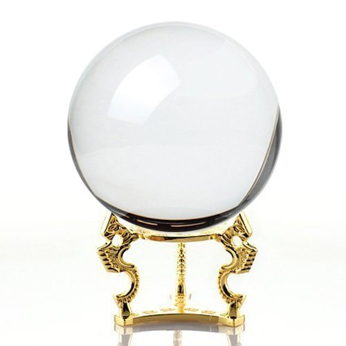 Amlong Crystal Clear Clear Crystal Ball Sphere 110mm (4.2 in.) with Golden Dragon Stand in Gift Package