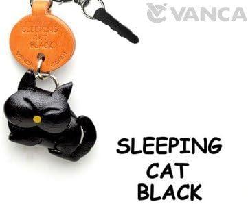 Black Sleeping Cat Leather Cat Earphone Jack Accessory//Dust Plug//Ear Cap//Ear JackVANCA Made in Japan #47409