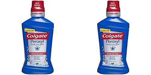 Colgate Peroxyl Mouth Sore Rinse, Mild Mint – 500mL, 16.9 fluid ounce, 2 Pack