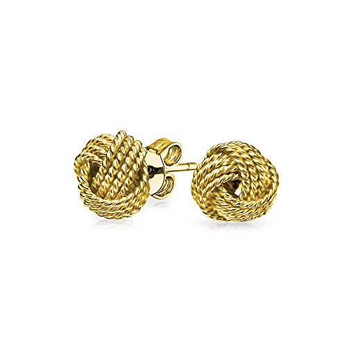 Twisted Braided Rope Love Knot Ball Stud Earrings For Women 14K Gold Plated 925 Sterling Silver