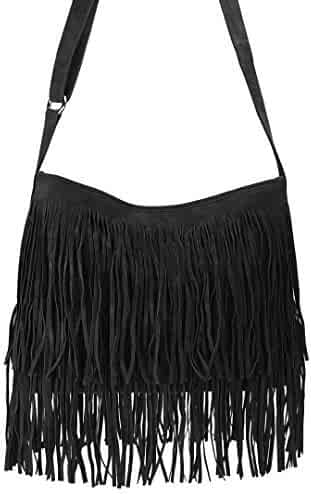 4463a70523 Hoxis Tassel Faux Suede Leather Hobo Cross Body Shoulder Bag Womens Sling  Bag