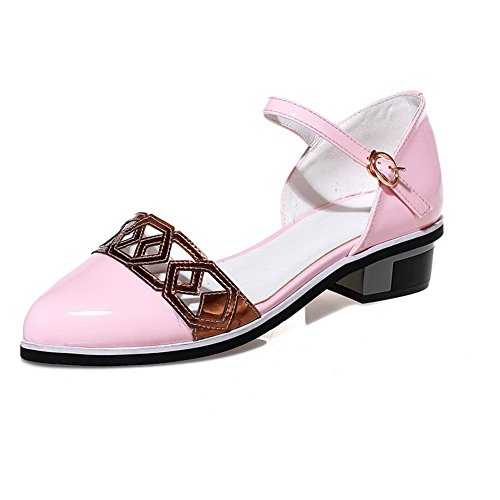 AgooLar Color heels Women's Low Toe Assorted Soft Sandals Pointed Pink Material Closed Buckle rWwraYqU