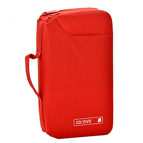 96 Capacity Premium CD/DVD case Wallet, storage,holder,booklet (Red) by (60 Dvd Storage)
