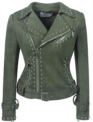 (chouyatou Women's Cool Studded Asymmetric Zip Snake-Skin Perfect Suede Leather Moto Jacket (Medium, Suede-Army))