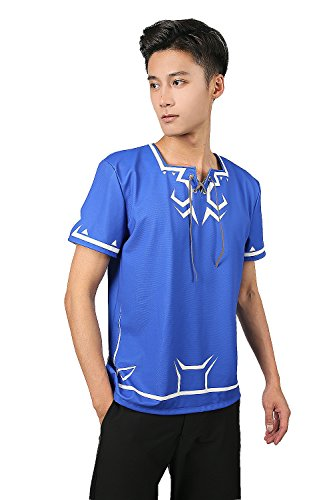 Link Cosplay Costume Design (Deluxe Link T-shirt Deep Blue Dacron Legend Shirt CL Cosplay M)