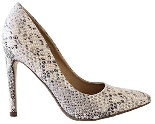 Bella Marie Cindy Women Pointed Toe Slip On Stiletto Heel Pumps Animal Snake Python Print Skin Beige 9