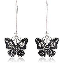 Sale Elegant Women Vintage Punk Alloy Jewelry Butterfly Skull Dangle Earrings by NYKKOLA