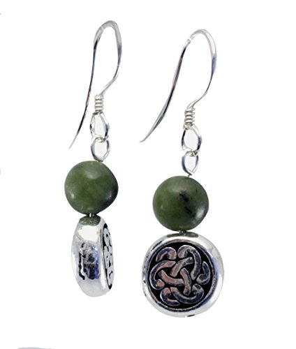 Connemara Marble Celtic Circle Silver Hook Earrings - Celtic Circle Earrings
