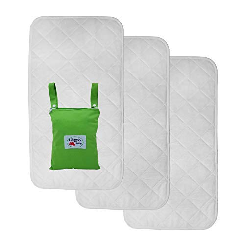 Changing Pad Liners, Waterproof 3 Pack X Large Premium Bamboo Rayon, Baby Diaper Changing Table Cover, Machine Washable, Dryer Friendly, Soft Quilted Hypoallergenic Portable, Free Wet Dry Bag (Terry Changing Baby Pad)
