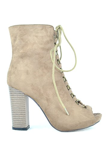 Chase & Chloe Benjamin-2 Lace-Up Booties With Chunky Heel Taupe