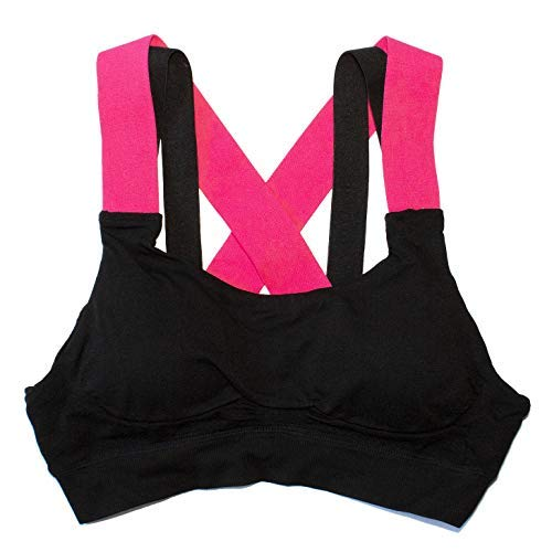 dad1bf95bcb Runner Island Womens Bonnie s Strappy Hot Pink   Black High Impact Sports  Bra with Padded Inserts