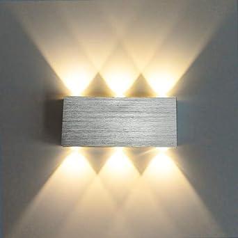 Lámpara de pared Led Aplique Moderno Escalera Luminaria Dormitorio Cama Sala de estar Junto a la cama Iluminación en el interior Pasillo Loft plateado, 6W 6 cabezas, púrpura: Amazon.es: Iluminación