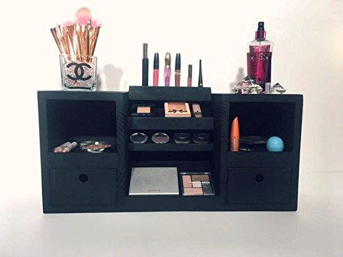 Makeup Organizer | Makeup Storage | Vanity Makeup Organizer | Cosmetic Display | Beauty Station | Makeup shelf | Wooden Makeup Organizer | Makeup Organization | Eye Palette Shelf | Nail Polish Shelf by Highland Design Co