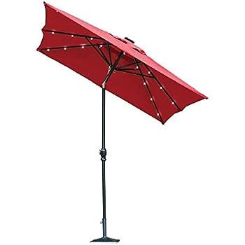 Hampton Bay 9 Ft. Rectangular Aluminum Solar Patio Umbrella In Scarlet