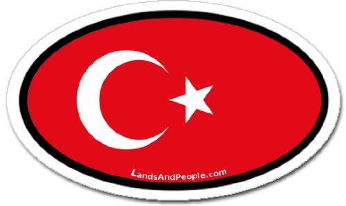 (Turkey Turkish Flag Car Bumper Sticker Decal Oval)