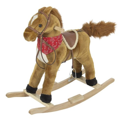 Rocking Horse Plush Brown With Sound toy Boys Rocking Horse Solid Construction by Unbranded