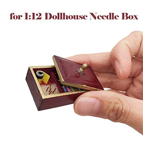 Maikouhai Miniature Needle Box, 1:12 Dollhouse Miniature Needlework Kit Sewing Supply Needle Box Tools Accessory, Main Material Wood, 3.5×2.5×3.5cm