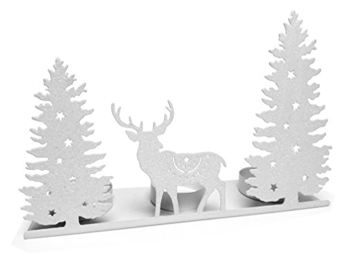Deer Holiday Candle Holder - Tea Light Holder with White Glitter Winter Scene Silhouette - Deer and Evergreen Tree Cut Outs - White Glitter Candle Holders (Winter Wonderland Cakes Wedding)