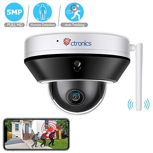 Ctronics WiFi Security Camera 5MP- Home Security Camera System Pan 355°Tilt 90° with Built-in Micro SD Card Slot, Plug…