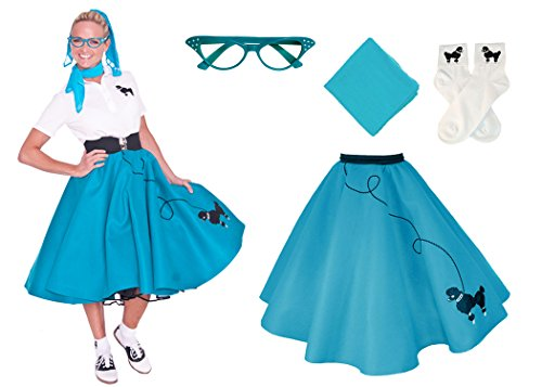 Hip Hop 50s Shop Adult 4 Piece Poodle Skirt Costume Set