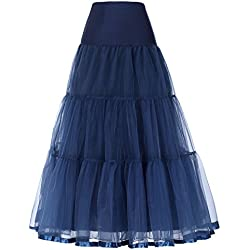 GRACE KARIN Women's Long Underskirt Petticoats for Bridal Gowns (XL,Navy Blue)