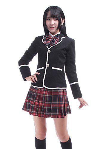 [Nuotuo Womens British Style High School Uniform CC119N-S (S,Black&red)] (Girl Anime Costumes)