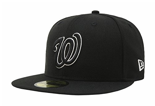 New Era 59Fifty Men's Hat Washington Nationals Black/White Fitted Headwear Cap (7 1/2)