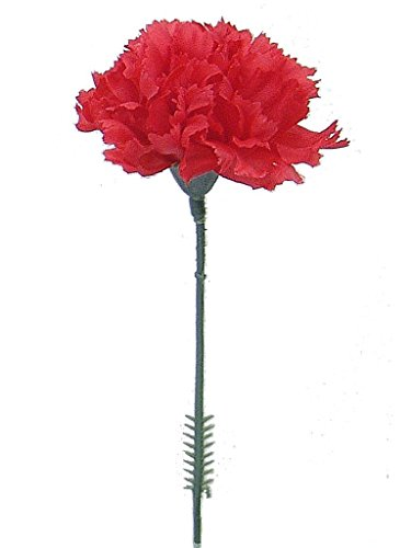 """Floral Supply Online - 4.25"""" Silk Carnations on Stem Pick - Featuring New Larger Bloom Size for Floral Arrangements, Weddings, Flowers, Home Decor or Office. (Red, Box of 50)"""