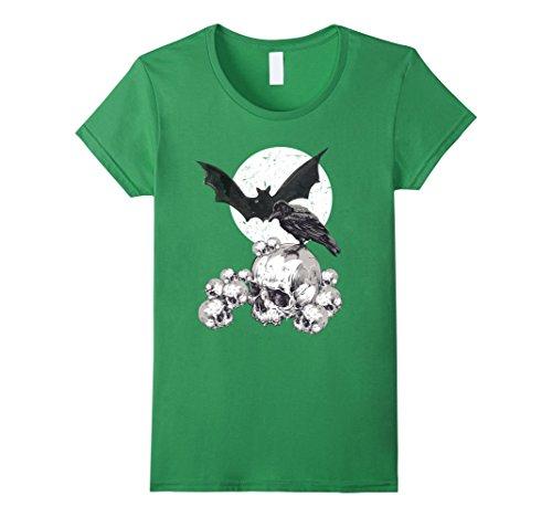 Womens Edgar Allen Poe Nevermore Raven Halloween Horror T-Shirt Small Grass