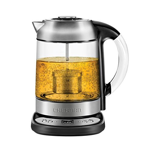 Chefman Electric Glass Digital Tea Kettle With Free Tea Infuser, Built-in Precision Temperature Cont