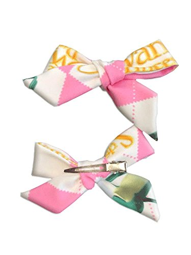 Swan Princess Pink Argyle Hair Bow for Girls, Ladies Golf Dress Up Hair Accessory, Clip Style Bow Barrette]()