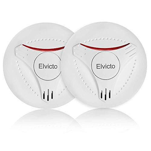 Elvicto 2 Pack Photoelectric Smoke Detector Sealed-in 10 Year Lithium, Battery-Operated Fire Alarm for Home