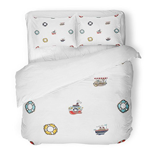 SanChic Duvet Cover Set Funny Kids Toy Water Transport for Nursery Baby Cartoon Lifebuoy Lifeline Lifering Tram Bus Steamship Decorative Bedding Set with 2 Pillow Shams Full/Queen Size (Gold Ring Baby Rectangle Yellow)