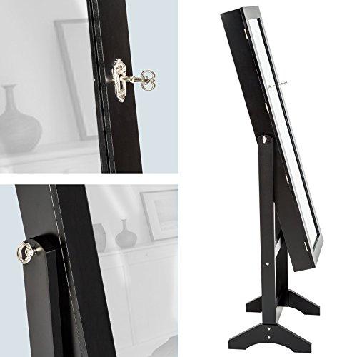 TecTake Luxus Spiegelschmuckschrank mit extra großem Spiegel schwarz -