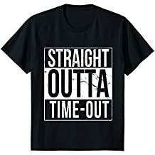Kids Distressed Straight Outta Time-Out Funny T-Shirt