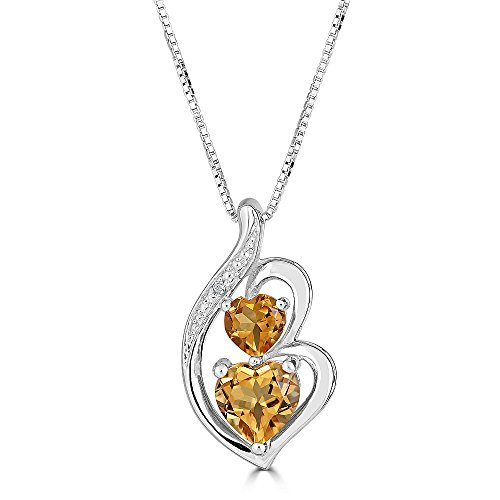 Citrine Diamond Prong Necklace - Citrine Necklace in Silver Silver with Diamond Accent