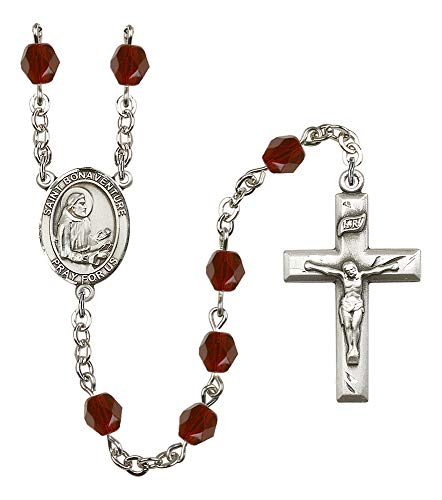 Garnet Rosary Crucifix - Silver Plate Rosary features 6mm Garnet Fire Polished beads. The Crucifix measures 1 3/8 x 3/4. The centerpiece features a St. Bonaventure medal. Patron Saint Bowel Disorders