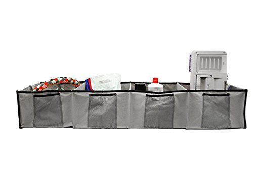 FloridaBrands Premium Quality Auto Trunk Organizer for Car, SUV, Truck and Home - 4 Large Compartments - Durable Soft Polyester, Collapsible Cargo Storage-Grey