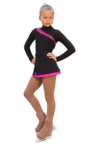 IceDress - Figure Skating Dress - Lasso(Black with Fuchsia) (CM) by IceDress