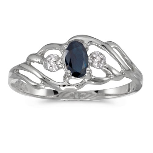 0.26 Carat ctw 10k Gold Oval Blue Sapphire & Diamond Fashion Cocktail Anniversary Ring - White-gold, Size 7.5