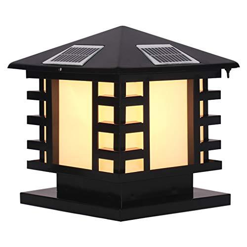 ZQH Solar Post Cap Lights, LED Cast Aluminum Solar Column Lamp Pillar Lamps Outdoor Yard Deck Street Top Wall Waterproof Garden Landscape Lights,Black,2527cm