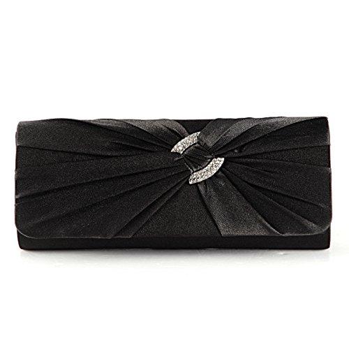 Anladia Satin Diamante Pleated Bridal Clutch Bag Ladies Evening Handbag Shoulder Bag Black