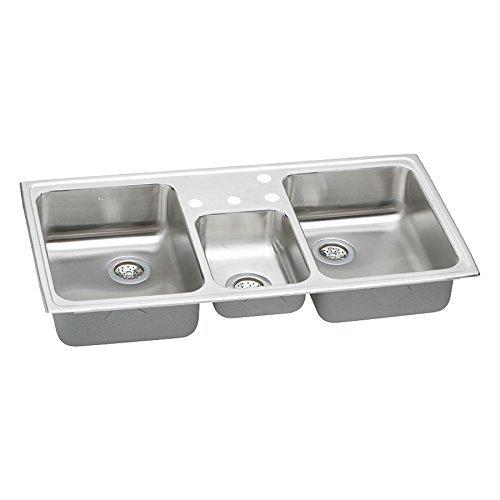 Elkay PSMR43224 Pacemaker Triple-Basin Drop-In Kitchen Sink, 20-Gauge, Stainless Steel